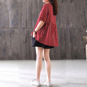 top quality summer cotton blended t shirt Loose fitting Stripe Casual Round Neck Short Sleeve Red T-shirt