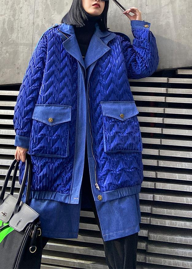 trendy plus size Coats winter outwear blue lapel zippered Parkas for women