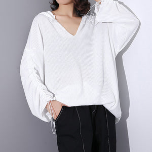 02a23552df01f4 top quality white Midi-length cotton blended t shirt oversized Hooded baggy  traveling clothing casual