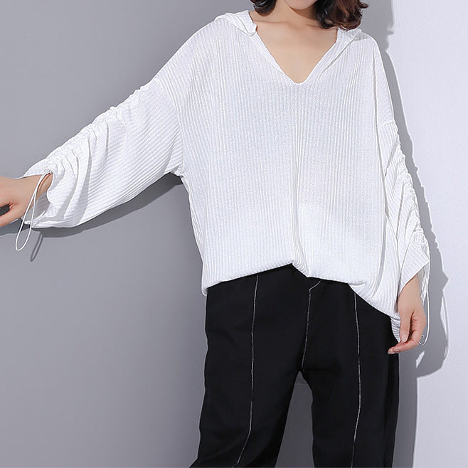 cebbeafe4dc9dd top quality white Midi-length cotton blended t shirt oversized Hooded baggy  traveling clothing casual ...
