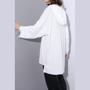 top quality white Midi-length cotton blended t shirt oversized Hooded baggy traveling clothing casual long sleeve asymmetrical design cotton blended tops