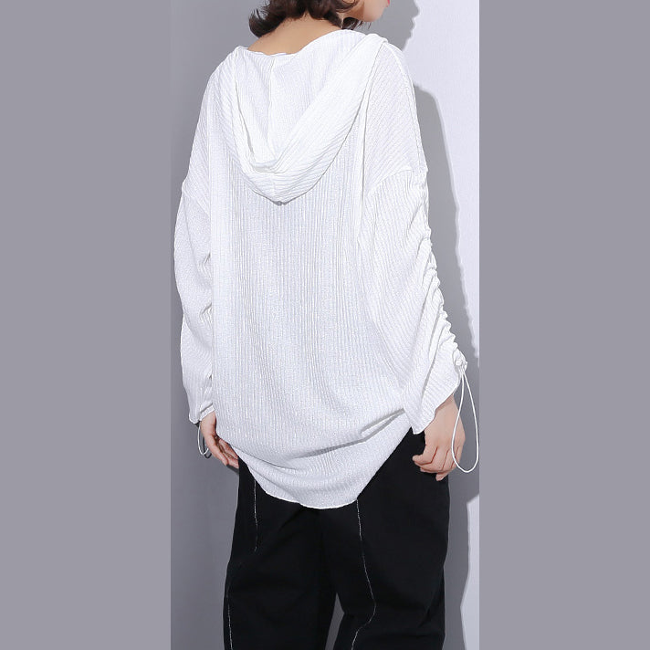 eb4975f5d02e3b ... top quality white Midi-length cotton blended t shirt oversized Hooded  baggy traveling clothing casual ...