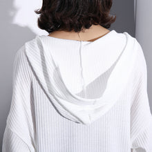 Load image into Gallery viewer, top quality white Midi-length cotton blended t shirt oversized Hooded baggy traveling clothing casual long sleeve asymmetrical design cotton blended tops