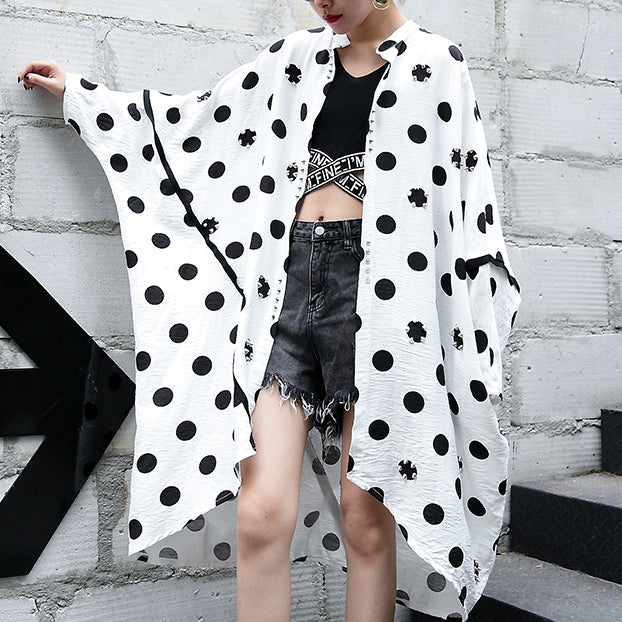 top quality white cotton dotted prints thin cardigans oversized linen batwing sleeve trench coat stand collar coats