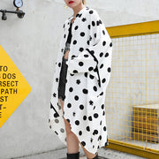 fine white cotton dotted prints thin cardigans oversized linen batwing sleeve trench coat stand collar coats