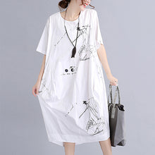 Afbeelding in Gallery-weergave laden, fine white cotton dress plus size traveling dress vintage o neck prints natural cotton dress