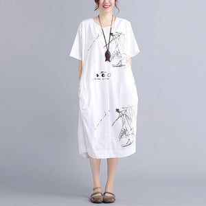 top quality white cotton dress plus size traveling dress vintage o neck prints natural cotton dress