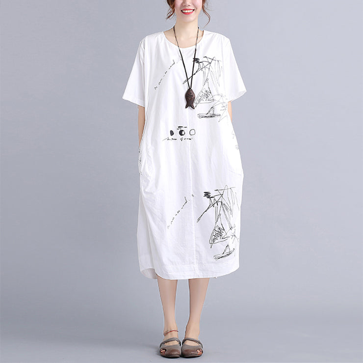fine white cotton dress plus size traveling dress vintage o neck prints natural cotton dress