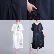 Load image into Gallery viewer, top quality white cotton dress plus size traveling dress vintage o neck prints natural cotton dress
