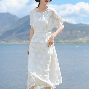 9aeb0e7fe0 top quality white linen maxi dress plus size O neck dotted gown top quality  short sleeve