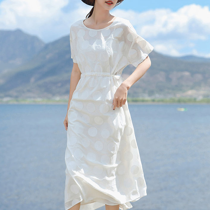 top quality white linen maxi dress plus size O neck dotted gown top quality short sleeve tie waist dresses