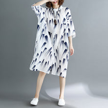 Load image into Gallery viewer, top quality white print natural cotton linen dress oversized maxi dress top quality half sleeve O neck Stand cotton clothing