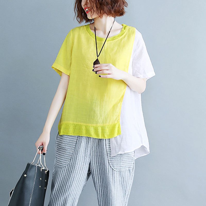 top quality yellow cotton linen tops plus size linen clothing tops 2018 o neck patchwork short sleeve brief t shirt