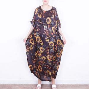 top quality yellow floral silk dress plus size chiffon clothing patchwork traveling dress Fine o neck kaftans