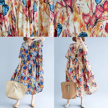 Load image into Gallery viewer, top quality yellow long cotton linen dress oversize short sleeve baggy dresses print gown casual o neck traveling dress