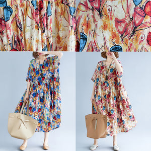 top quality yellow long cotton linen dress oversize short sleeve baggy dresses print gown casual o neck traveling dress