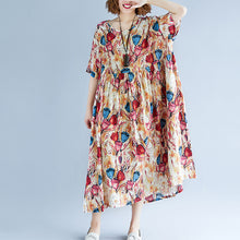 Load image into Gallery viewer, top quality yellow long linen dress oversized short sleeve print cotton gown 2018 O neck linen cotton dress