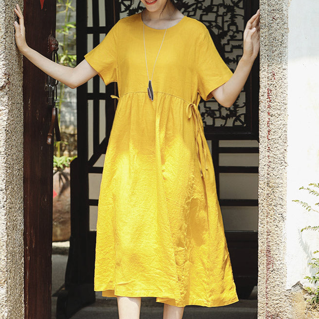 37cf7a61c3 top quality yellow natural linen dress trendy plus size O neck traveling  clothing Elegant short sleeve