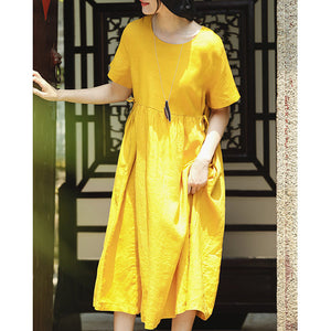 top quality yellow natural linen dress trendy plus size O neck traveling clothing Elegant short sleeve tie waist maxi dresses