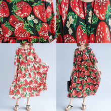 Load image into Gallery viewer, trendy black silk blended summer dress o neck short sleeve summer dress print baggy dresses