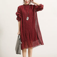 Load image into Gallery viewer, trendy burgundy dotted summer dress Stand long sleeve bridesmaid dress wrinkled tulle dress