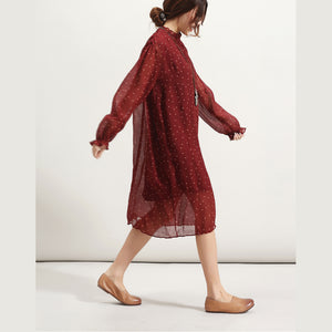 trendy burgundy dotted summer dress Stand long sleeve bridesmaid dress wrinkled tulle dress