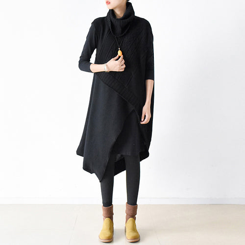 two pieces black knit dresses asymmetrical winter dress asymmetrical design 2017 winter