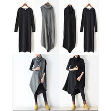 Afbeelding in Gallery-weergave laden, two pieces black knit dresses asymmetrical winter dress asymmetrical design 2017 winter