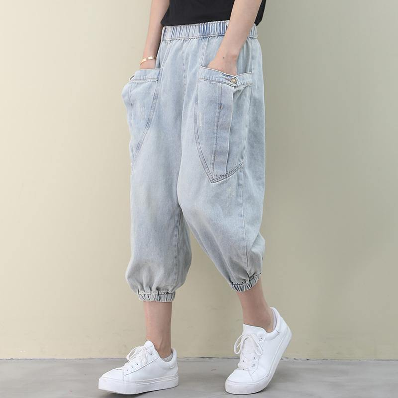 tyle summer wild pants plus size clothing light denim blue Work pockets trousers