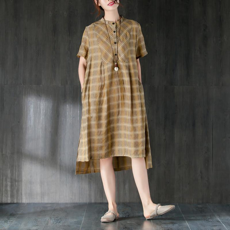 vintage Midi-length cotton dress plus size Lattice Summer Women Dress with Button