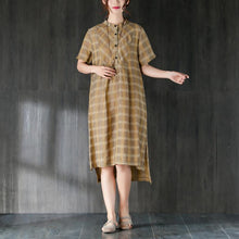 Load image into Gallery viewer, vintage Midi-length cotton dress plus size Lattice Summer Women Dress with Button