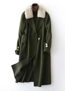 vintage army green Woolen Coats oversized trench coat fur collar women coats Notched