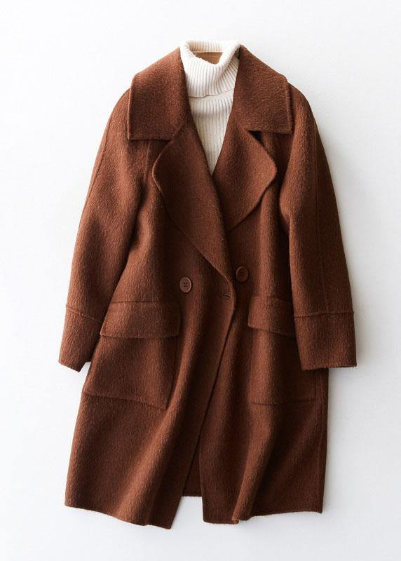 vintage beige Woolen Coat Women plus size medium length jackets big pockets woolen outwear lapel collar
