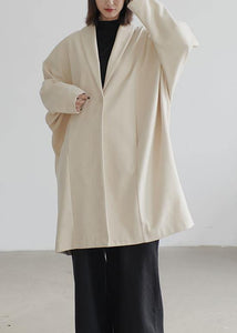 vintage beige wool overcoat Loose fitting Coats Batwing Sleeve pockets coats