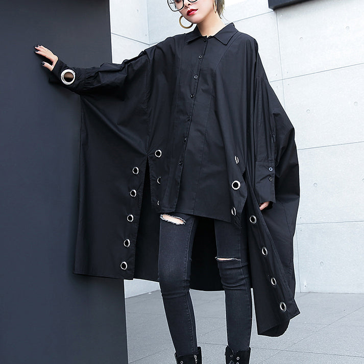 vintage black Midi cotton pullover plus size traveling blouse vintage hollow outlow high design cotton blouses