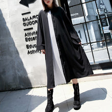 Load image into Gallery viewer, vintage black caftans oversized Turn-down Collar fall dresses Elegant patchwork baggy dresses