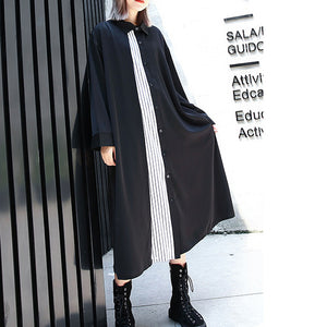 vintage black caftans oversized Turn-down Collar fall dresses Elegant patchwork baggy dresses