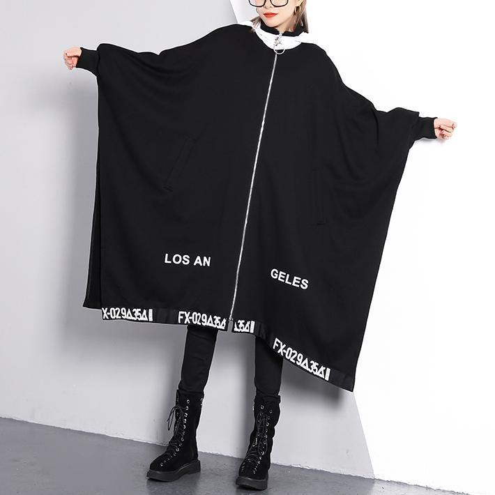 vintage black coat Loose fitting turn-down collar zippered long coat 2018 Batwing Sleeve asymmetric Coat