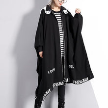 Load image into Gallery viewer, vintage black coat Loose fitting turn-down collar zippered long coat 2018 Batwing Sleeve asymmetric Coat