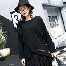 Load image into Gallery viewer, vintage black cotton blended pullover plus size O neck asymmetric shirts 2018 long sleeve zippered brief t shirt
