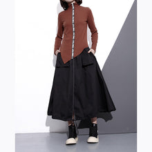 Load image into Gallery viewer, vintage black cotton oversize A line skirts top quality pockets drawstring skir
