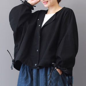 vintage black long coat Loose fitting stand collar Jackets & Coats Fashion long sleeve coats