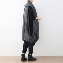 Load image into Gallery viewer, vintage black maxi coat oversize asymmetrical hem cardigans & Coats boutique sleeveless coats