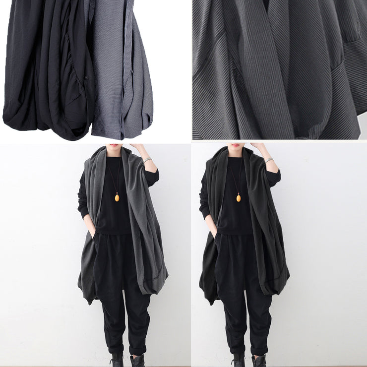 vintage black maxi coat oversize asymmetrical hem cardigans & Coats boutique sleeveless coats
