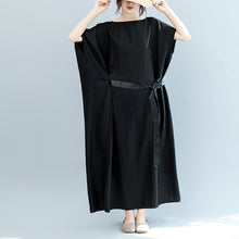 Load image into Gallery viewer, vintage black natural silk blended dress plus size o neck patchwork tie waist linen clothing dresses boutique short sleeve baggy dresses