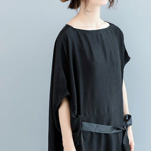 vintage black natural silk blended dress plus size o neck patchwork tie waist linen clothing dresses boutique short sleeve baggy dresses