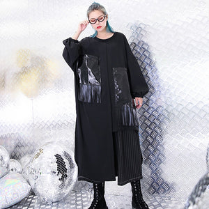 vintage black natural silk cotton blended dress trendy plus size O neck baggy dresses gown casual pockets tassel dresses
