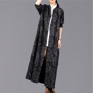 vintage black print Winter coat plus size stand collar Coat 2018 pockets trench coat