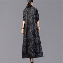 Load image into Gallery viewer, vintage black print Winter coat plus size stand collar Coat 2018 pockets trench coat