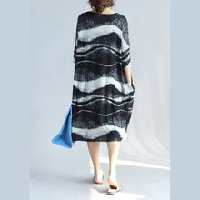 Load image into Gallery viewer, vintage black pure linen dress plussize holiday dresses Fine o neck asymmetric striped linen dresses